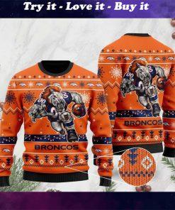 the denver broncos football team christmas ugly sweater
