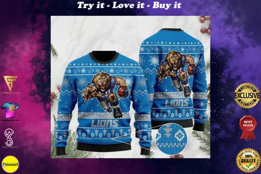 the detroit lions football team christmas ugly sweater