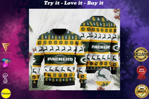 the green bay packers football team christmas ugly sweater