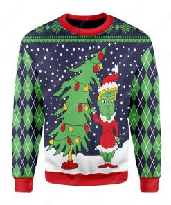 the grinch and christmas tree all over printed ugly christmas sweater 2