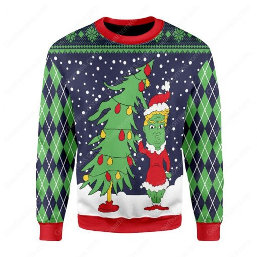 the grinch and christmas tree all over printed ugly christmas sweater 3