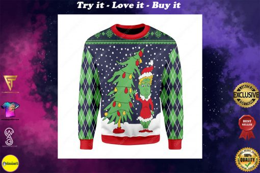 the grinch and christmas tree all over printed ugly christmas sweater