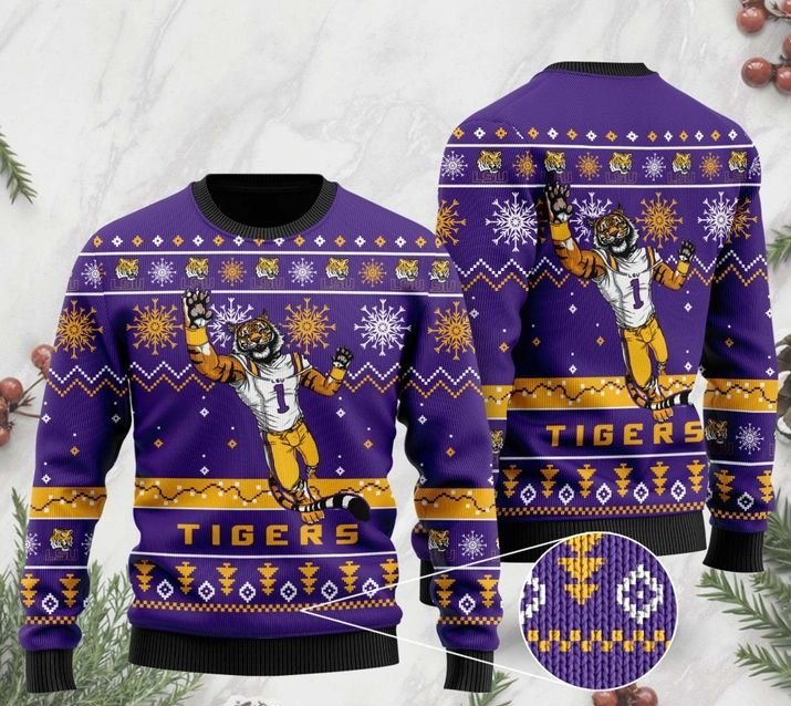 the lsu tigers football christmas ugly sweater 2