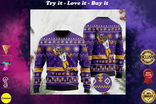the lsu tigers football christmas ugly sweater