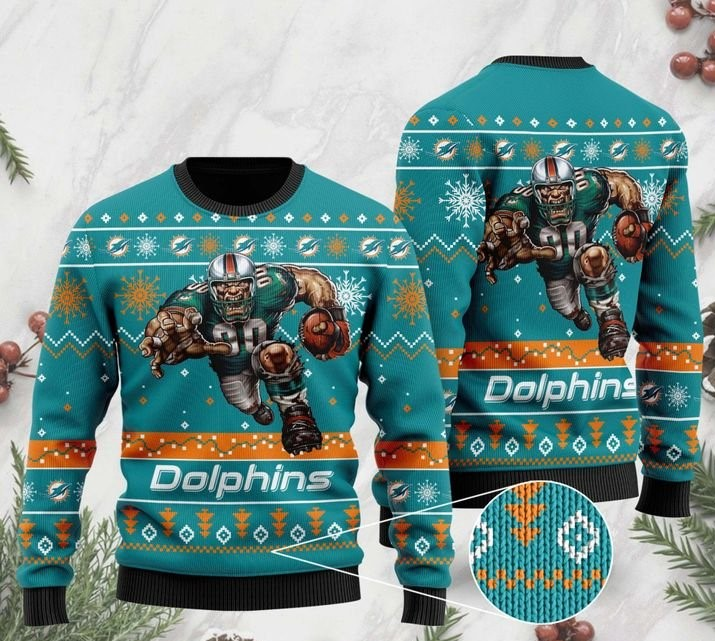 the miami dolphins football team christmas ugly sweater 2