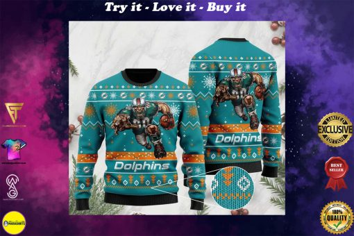the miami dolphins football team christmas ugly sweater