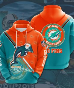 the miami dolphins football team full printing hoodie