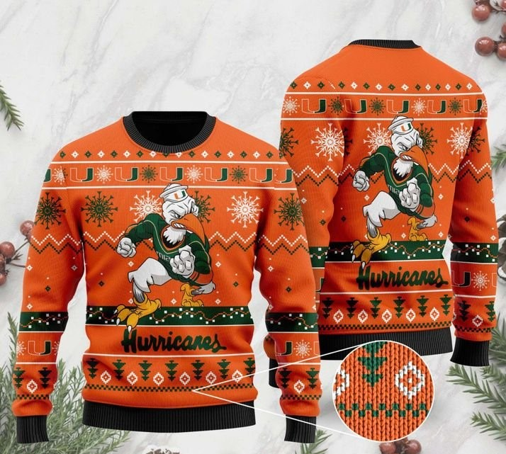 the miami hurricanes football christmas ugly sweater 2 - Copy (2)