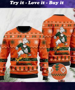 the miami hurricanes football christmas ugly sweater