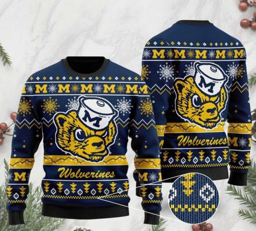 the michigan wolverines football christmas ugly sweater 2