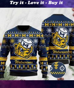 the michigan wolverines football christmas ugly sweater