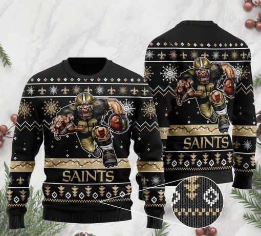 the new orleans saints football team christmas ugly sweater 2