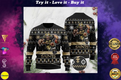 the new orleans saints football team christmas ugly sweater