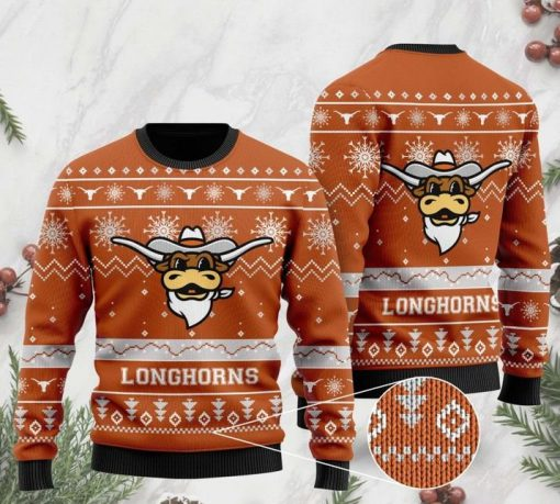 the texas longhorns football christmas ugly sweater 2