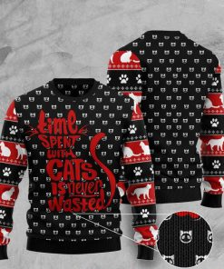 time spent with cats is never wasted pattern ugly sweater 2 - Copy