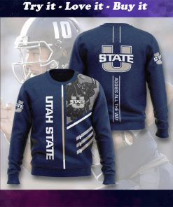utah state aggies football aggies all the way full printing ugly sweater