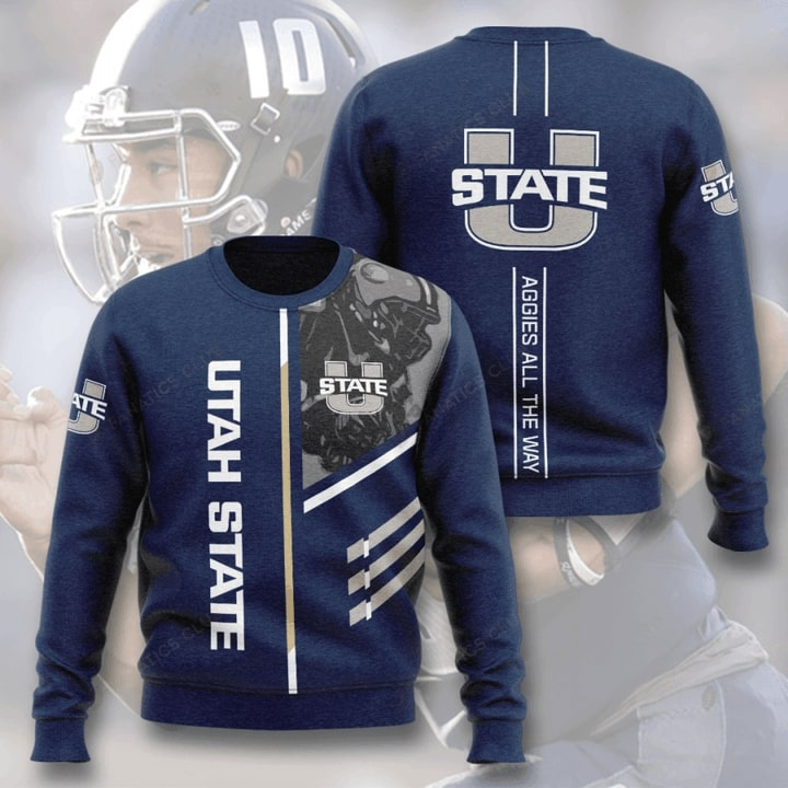 utah state aggies football aggies all the way full printing ugly sweater 3