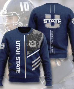 utah state aggies football aggies all the way full printing ugly sweater 5