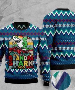 vintage grandpa shark doo doo doo pattern christmas ugly sweater 2