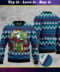 vintage grandpa shark doo doo doo pattern christmas ugly sweater