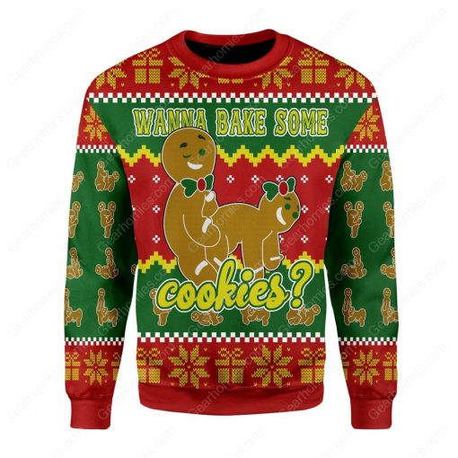 wanna bake some cookies all over printed ugly christmas sweater 2