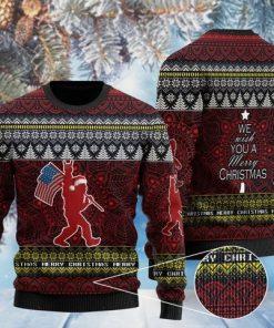we wish you a merry christmas bigfoot christmas ugly sweater 2