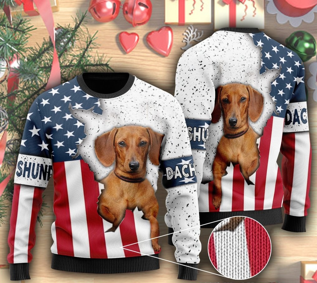 american flag and dachshund dog ugly christmas sweater 2
