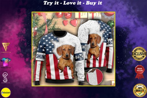 american flag and dachshund dog ugly christmas sweater
