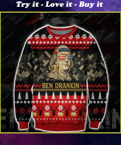 ben drankin all over print ugly christmas sweater