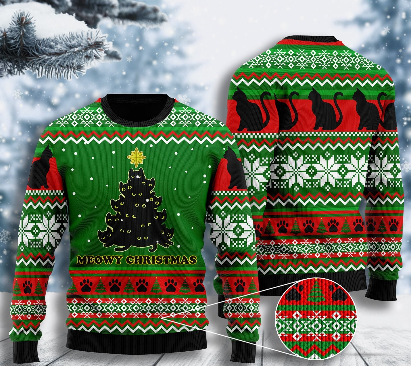 black cat meowy christmas tree all over printed ugly christmas sweater 2