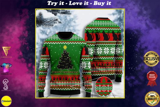 black cat meowy christmas tree all over printed ugly christmas sweater