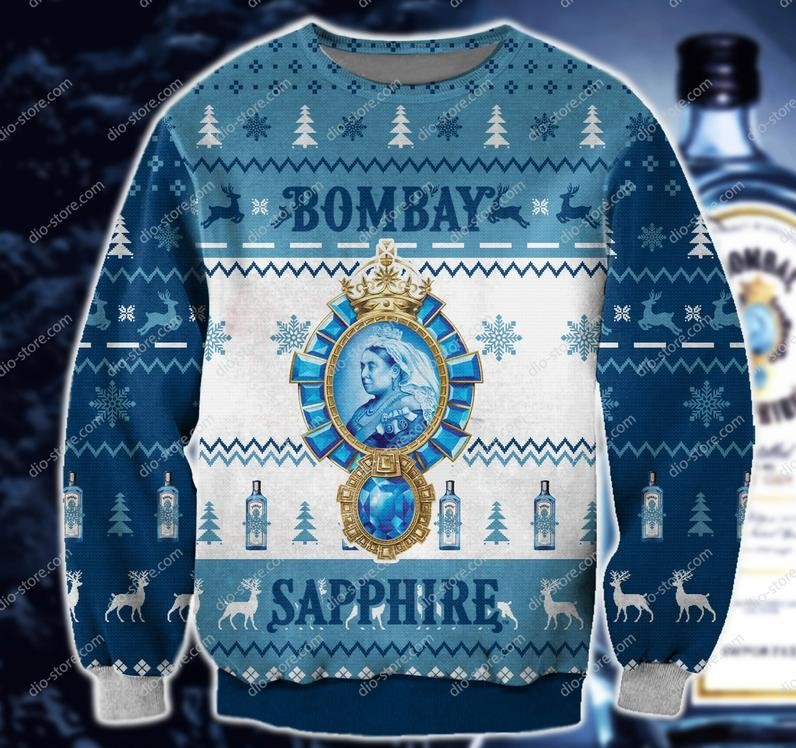 bombay sapphire all over print ugly christmas sweater 2