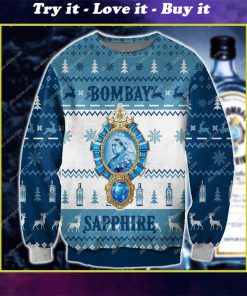 bombay sapphire all over print ugly christmas sweater