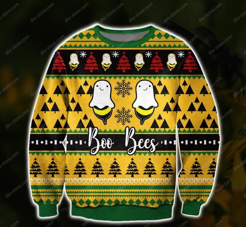 boo bees all over print ugly christmas sweater 2