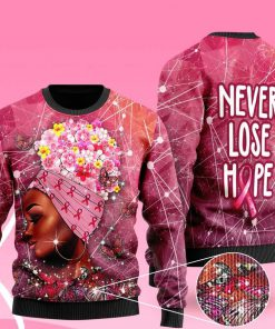 breast cancer awareness never lose hope ugly christmas sweater 2