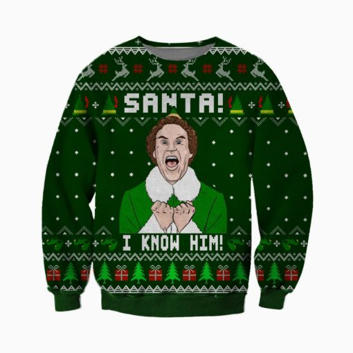 buddy the elf santa i know him all over printed ugly christmas sweater 2