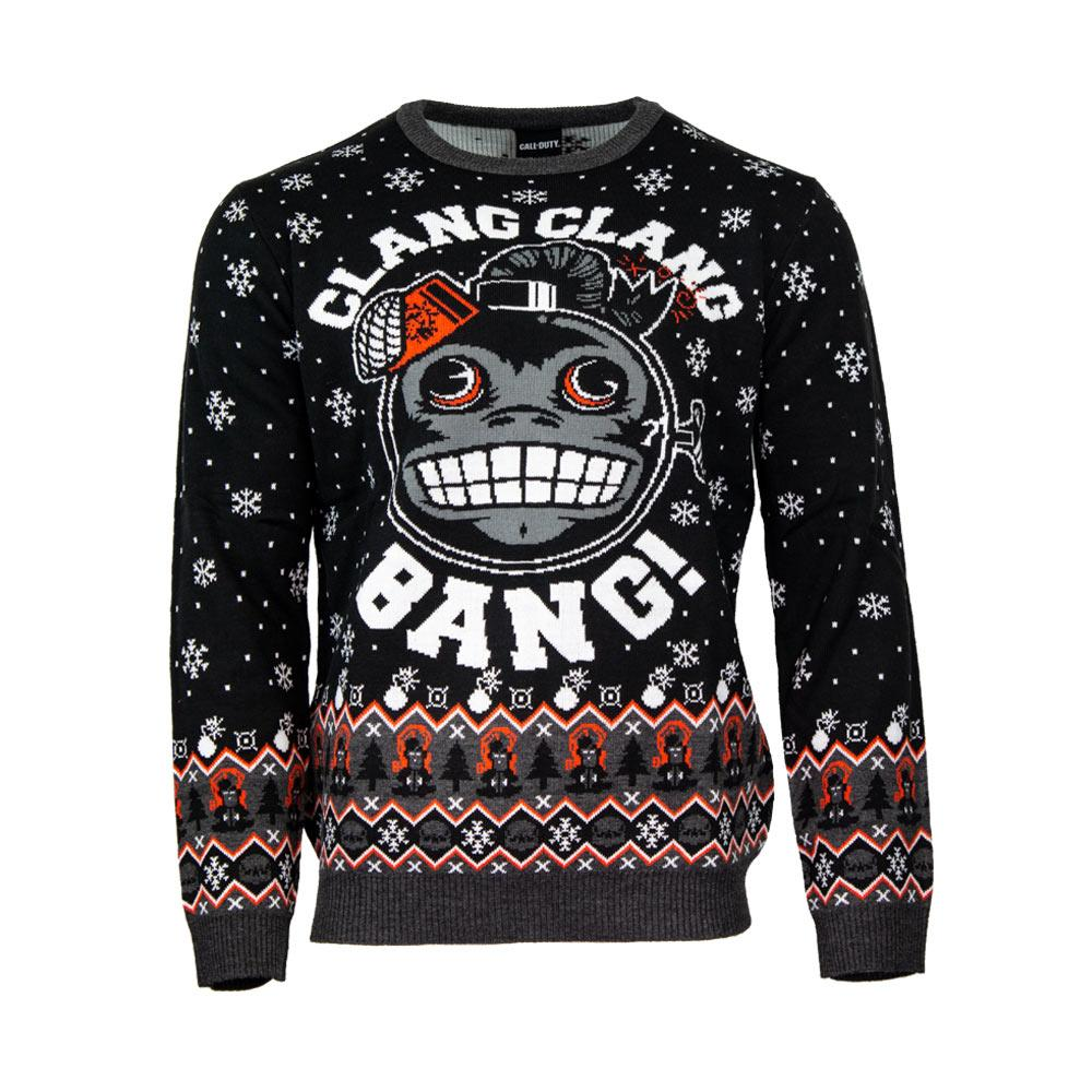 call of duty monkey bomb clang clang bang all over printed ugly christmas sweater 2