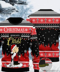 christmas begins with christ charlie brown and snoopy all over printed ugly christmas sweater 2