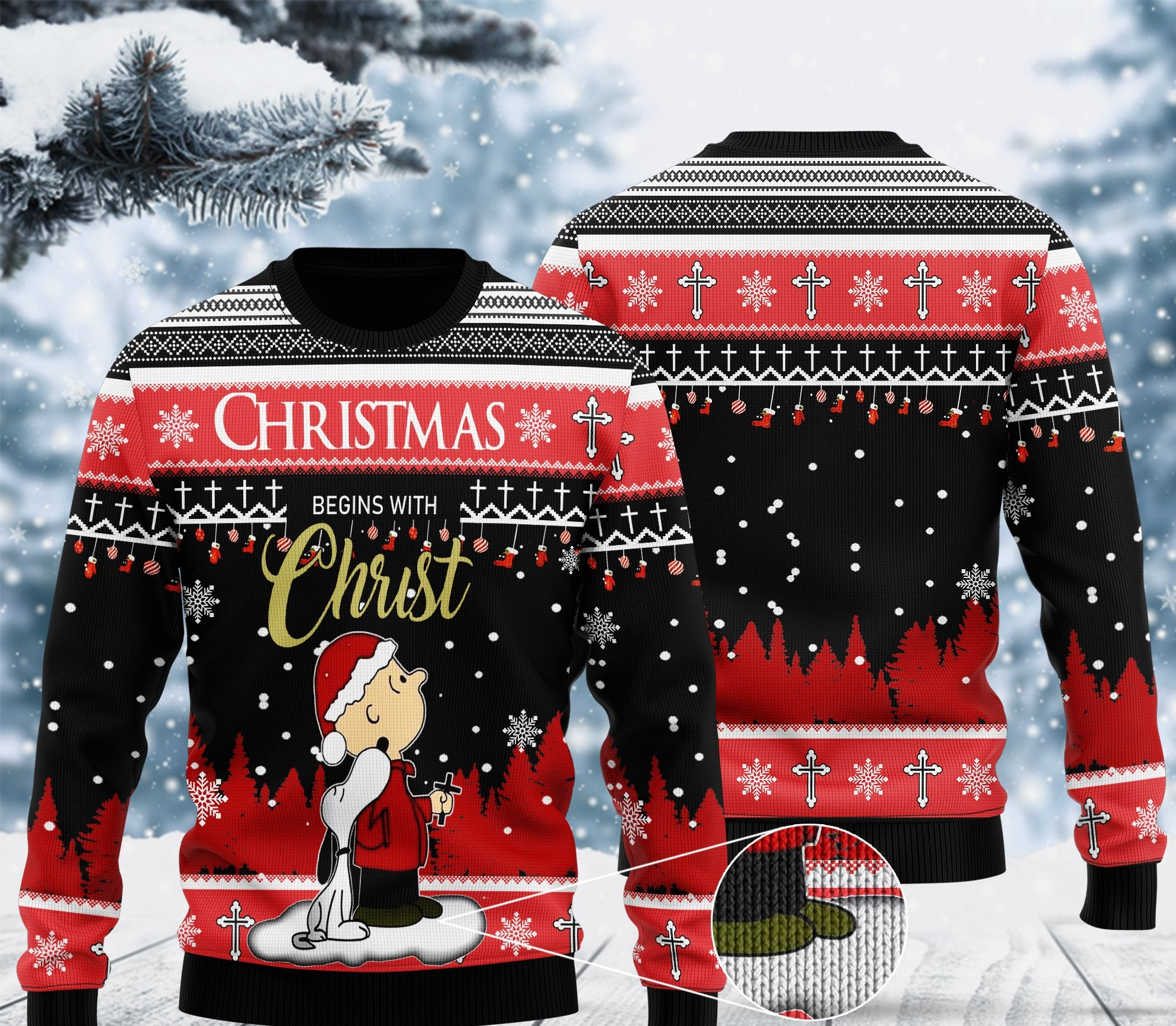 christmas begins with christ charlie brown and snoopy all over printed ugly christmas sweater 2 - Copy