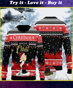 christmas begins with christ charlie brown and snoopy all over printed ugly christmas sweater