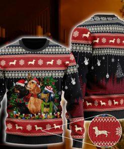 christmas dachshund santa hat all over printed ugly christmas sweater 2