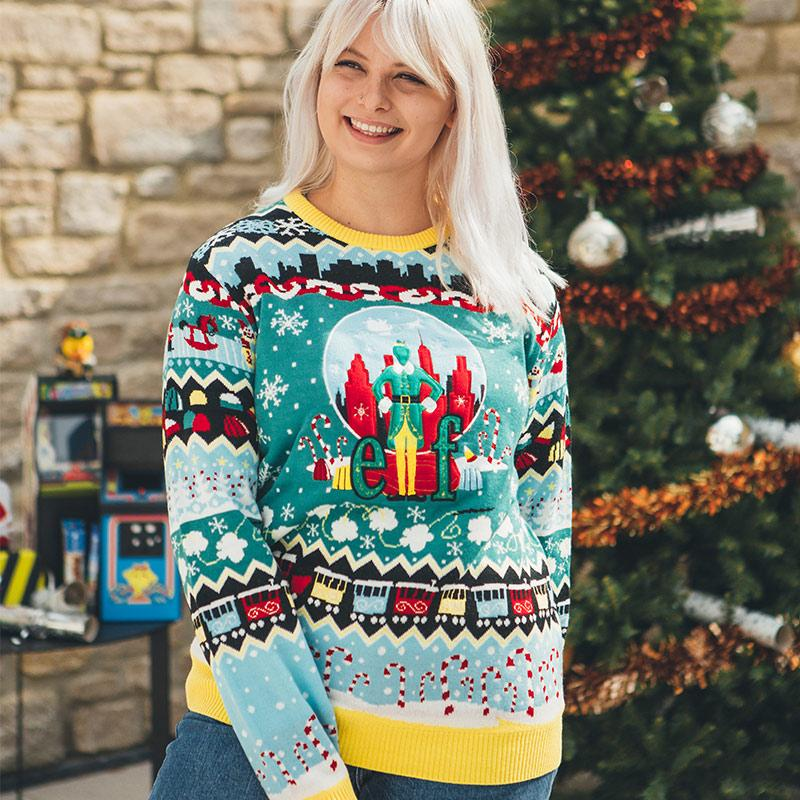 christmas elf all over printed ugly christmas sweater 2