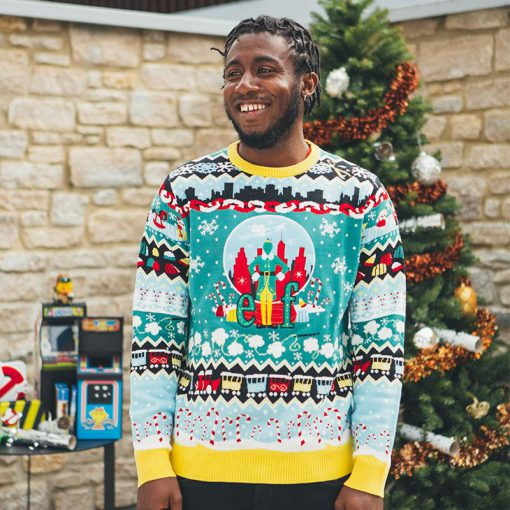 christmas elf all over printed ugly christmas sweater 3