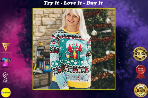 christmas elf all over printed ugly christmas sweater