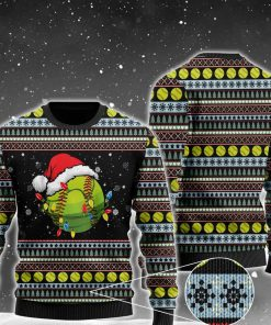 christmas softball ball santa hat all over printed ugly christmas sweater 2