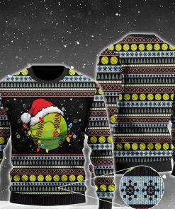 christmas softball ball santa hat all over printed ugly christmas sweater 2 - Copy (2)