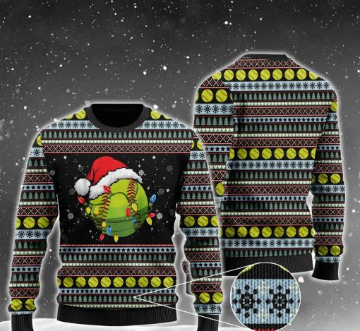 christmas softball ball santa hat all over printed ugly christmas sweater 2 - Copy (2)
