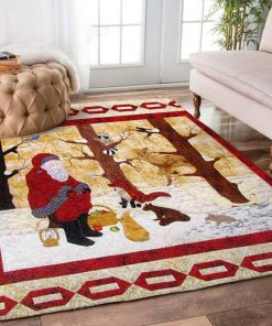 christmas time santa claus and animals full printing rug 2