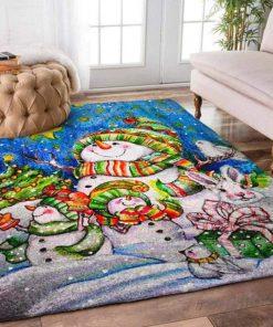 christmas time snowman and rabbit full printing rug 5