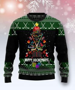 christmas tree happy hockey days ugly christmas sweater 2